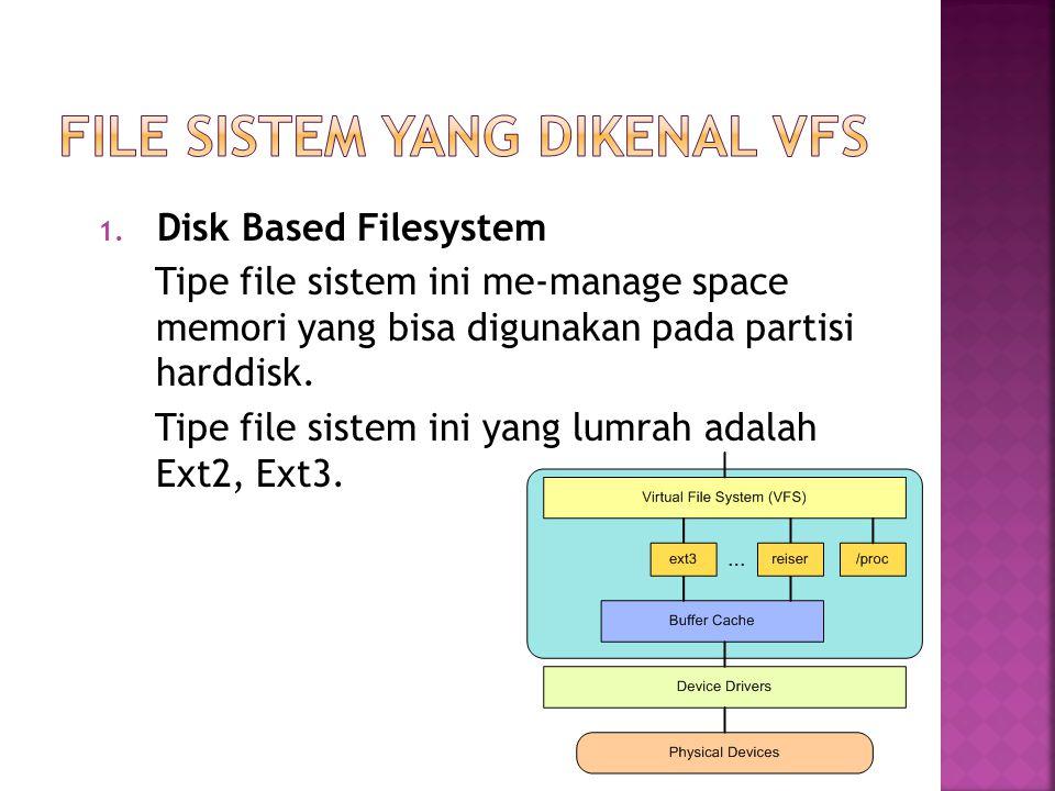 1. Disk Based Filesystem Tipe file sistem ini me-manage space memori yang bisa digunakan pada partisi harddisk. Tipe file sistem ini yang lumrah adala