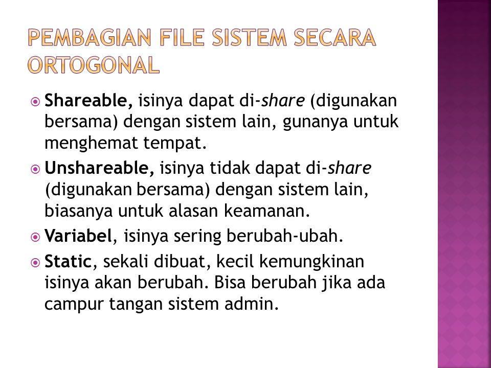  Shareable, isinya dapat di-share (digunakan bersama) dengan sistem lain, gunanya untuk menghemat tempat.  Unshareable, isinya tidak dapat di-share