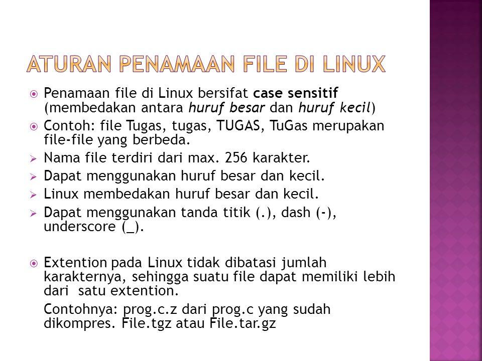  Penamaan file di Linux bersifat case sensitif (membedakan antara huruf besar dan huruf kecil)  Contoh: file Tugas, tugas, TUGAS, TuGas merupakan fi