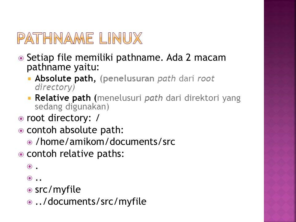  Setiap file memiliki pathname. Ada 2 macam pathname yaitu:  Absolute path, (penelusuran path dari root directory)  Relative path (menelusuri path