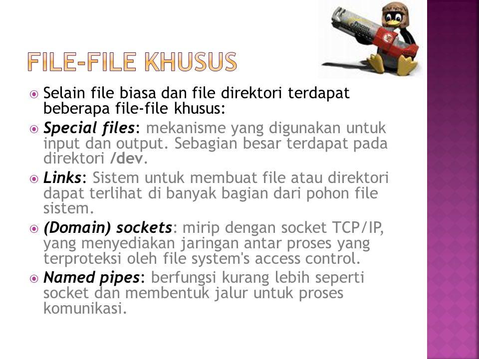  Selain file biasa dan file direktori terdapat beberapa file-file khusus:  Special files: mekanisme yang digunakan untuk input dan output. Sebagian