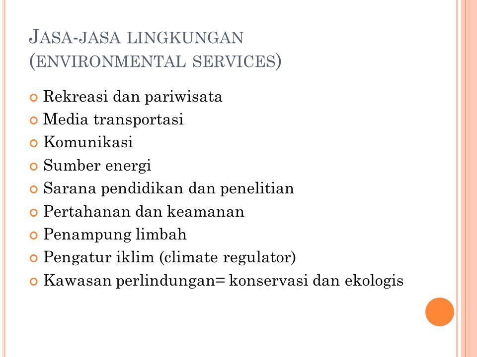 J ASA - JASA LINGKUNGAN ( ENVIRONMENTAL SERVICES ) Rekreasi dan pariwisata Media transportasi Komunikasi Sumber energi Sarana pendidikan dan penelitian Pertahanan dan keamanan Penampung limbah Pengatur iklim (climate regulator) Kawasan perlindungan= konservasi dan ekologis