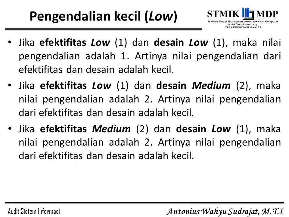 Audit Sistem Informasi Antonius Wahyu Sudrajat, M.T.I Pengendalian kecil (Low) Jika efektifitas Low (1) dan desain Low (1), maka nilai pengendalian adalah 1.