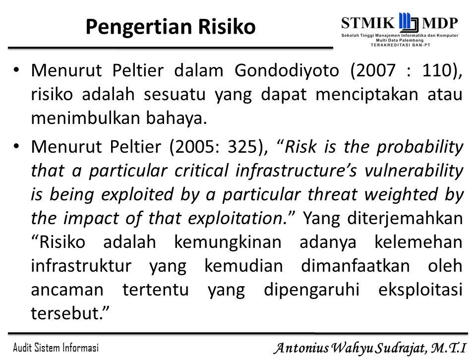 Audit Sistem Informasi Antonius Wahyu Sudrajat, M.T.I Pengertian Risiko Menurut Peltier dalam Gondodiyoto (2007 : 110), risiko adalah sesuatu yang dapat menciptakan atau menimbulkan bahaya.