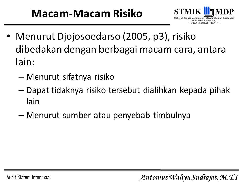 Audit Sistem Informasi Antonius Wahyu Sudrajat, M.T.I Macam-Macam Risiko Menurut Djojosoedarso (2005, p3), risiko dibedakan dengan berbagai macam cara, antara lain: – Menurut sifatnya risiko – Dapat tidaknya risiko tersebut dialihkan kepada pihak lain – Menurut sumber atau penyebab timbulnya