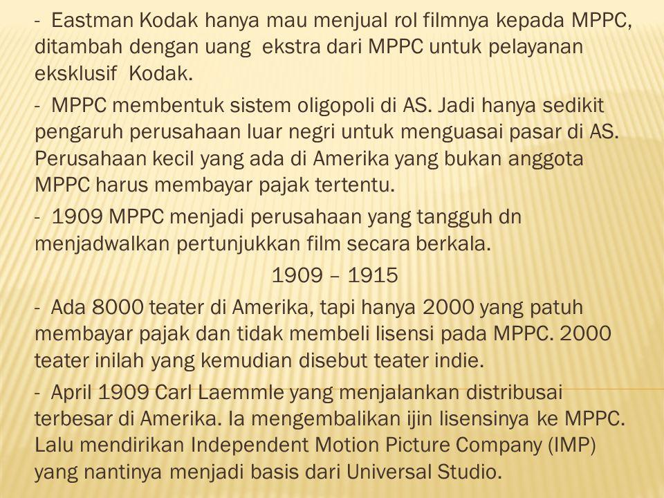 - Perusahhan indie lain adalah Solax (oleh Alice Guy Blache), New York Motion Picture Comp.