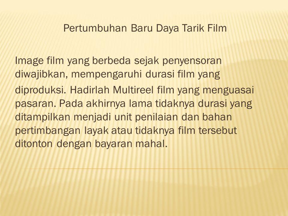Pertumbuhan Baru Daya Tarik Film Image film yang berbeda sejak penyensoran diwajibkan, mempengaruhi durasi film yang diproduksi.