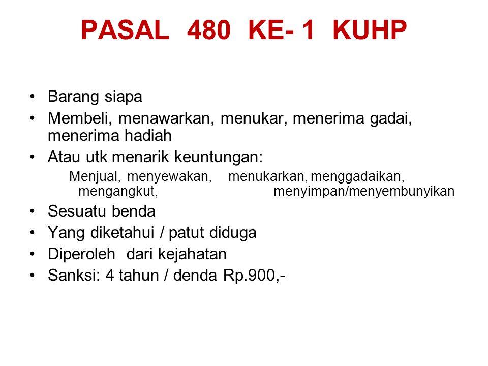 PASAL 480 KE- 1 KUHP Barang siapa Membeli, menawarkan, menukar, menerima gadai, menerima hadiah Atau utk menarik keuntungan: Menjual, menyewakan, menu