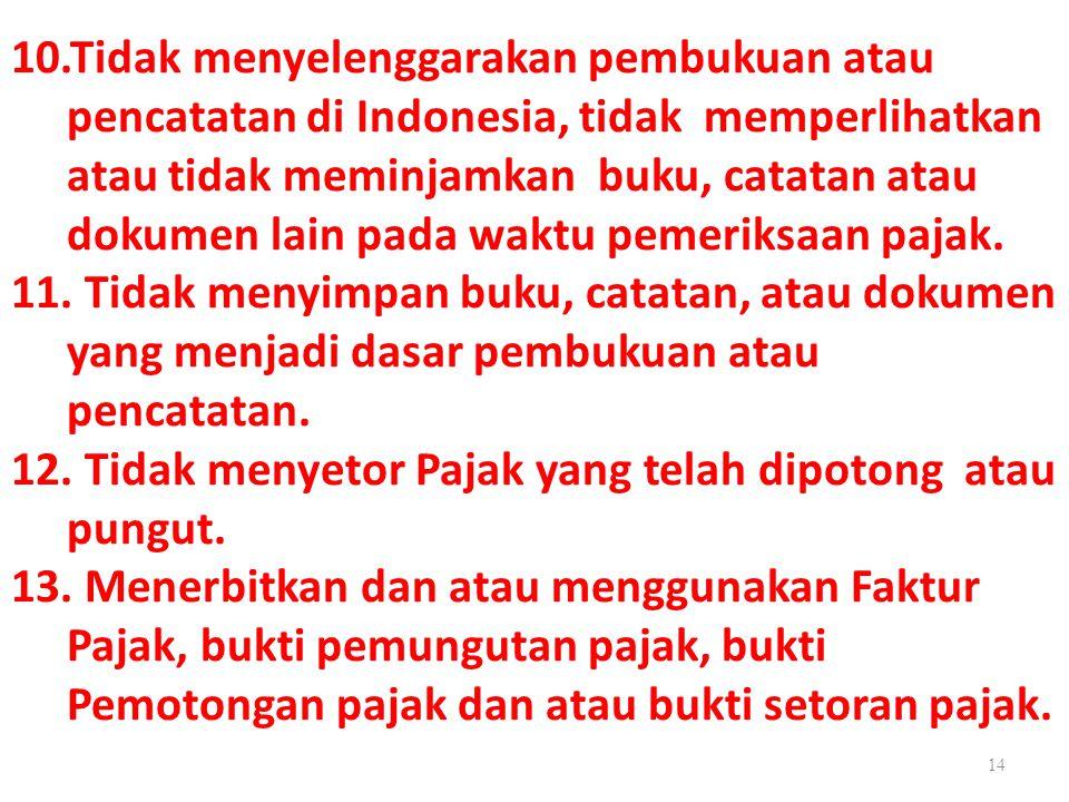 10.Tidak menyelenggarakan pembukuan atau pencatatan di Indonesia, tidak memperlihatkan atau tidak meminjamkan buku, catatan atau dokumen lain pada wak