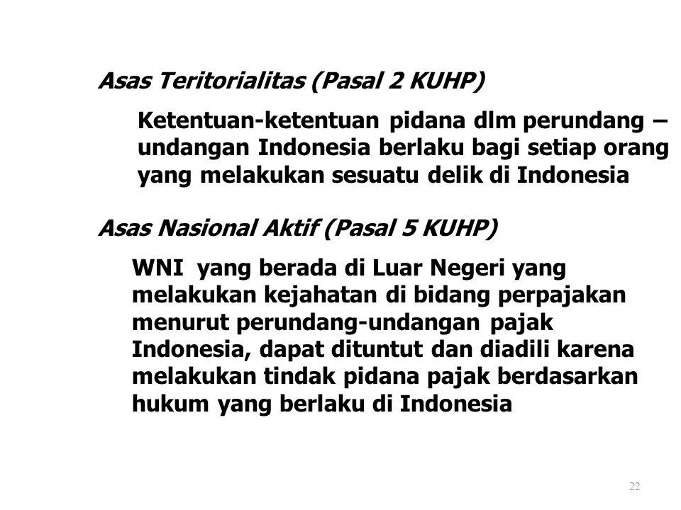 22 Asas Teritorialitas (Pasal 2 KUHP) Ketentuan-ketentuan pidana dlm perundang – undangan Indonesia berlaku bagi setiap orang yang melakukan sesuatu d