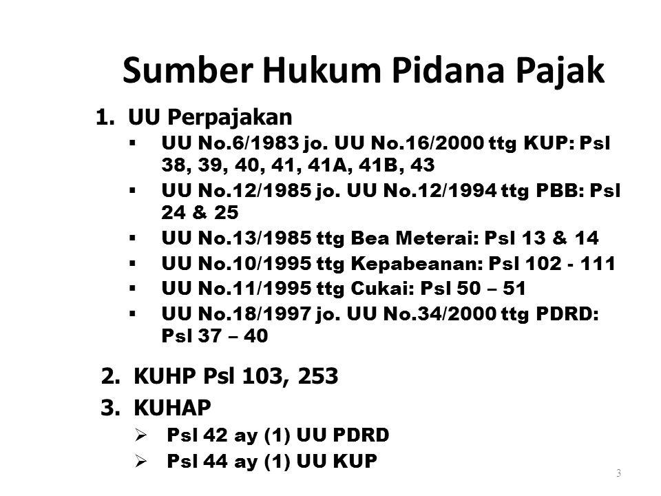 3 Sumber Hukum Pidana Pajak 1.UU Perpajakan  UU No.6/1983 jo. UU No.16/2000 ttg KUP: Psl 38, 39, 40, 41, 41A, 41B, 43  UU No.12/1985 jo. UU No.12/19