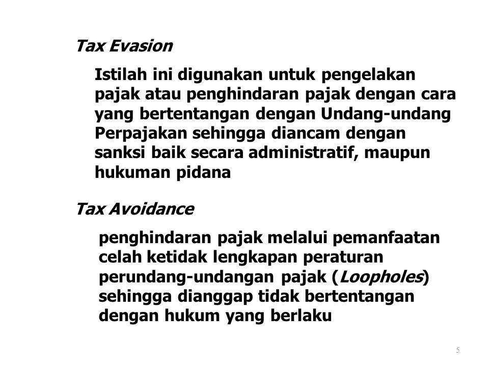 Tax Evasion 5 Istilah ini digunakan untuk pengelakan pajak atau penghindaran pajak dengan cara yang bertentangan dengan Undang-undang Perpajakan sehin