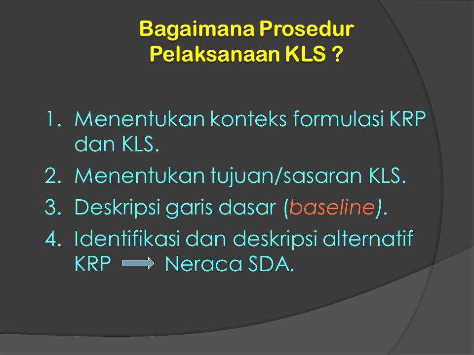 1.Menentukan konteks formulasi KRP dan KLS. 2.Menentukan tujuan/sasaran KLS. 3.Deskripsi garis dasar (baseline). 4.Identifikasi dan deskripsi alternat