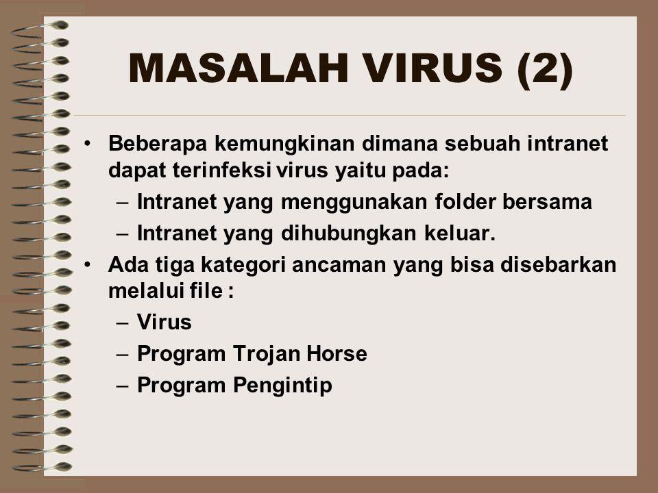 MASALAH VIRUS (2) Beberapa kemungkinan dimana sebuah intranet dapat terinfeksi virus yaitu pada: –Intranet yang menggunakan folder bersama –Intranet yang dihubungkan keluar.