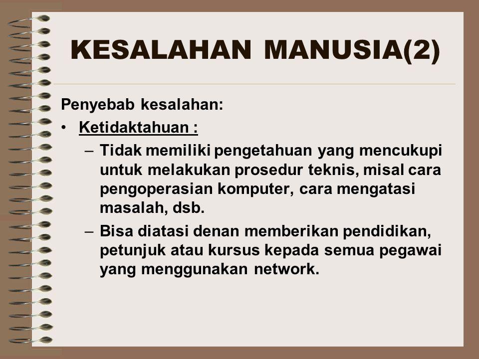 KESALAHAN MANUSIA(3) Kelalaian: –Bisa dialami semua orang mulai dari direksi hingga pegawai biasa, baik dia mengerti atau tidak.