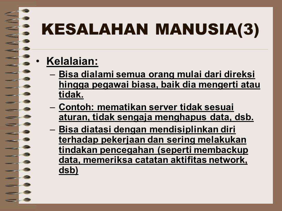 MASALAH VIRUS (6) CARA MENGATASI VIRUS Selalu menjalankan program antivirus pada server anda.