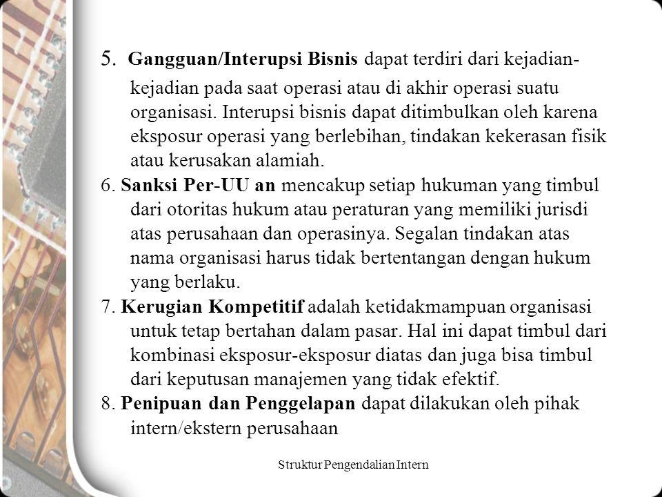 Struktur Pengendalian Intern 5. Gangguan/Interupsi Bisnis dapat terdiri dari kejadian- kejadian pada saat operasi atau di akhir operasi suatu organisa