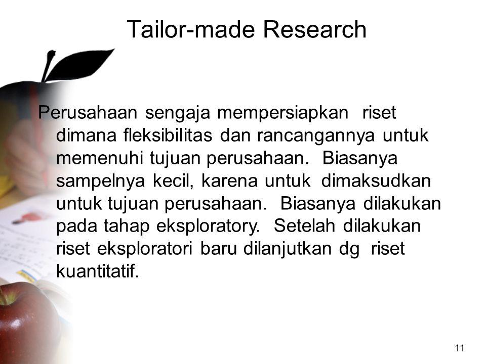 11 Tailor-made Research Perusahaan sengaja mempersiapkan riset dimana fleksibilitas dan rancangannya untuk memenuhi tujuan perusahaan. Biasanya sampel