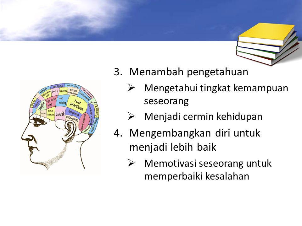 3.Menambah pengetahuan  Mengetahui tingkat kemampuan seseorang  Menjadi cermin kehidupan 4.Mengembangkan diri untuk menjadi lebih baik  Memotivasi seseorang untuk memperbaiki kesalahan