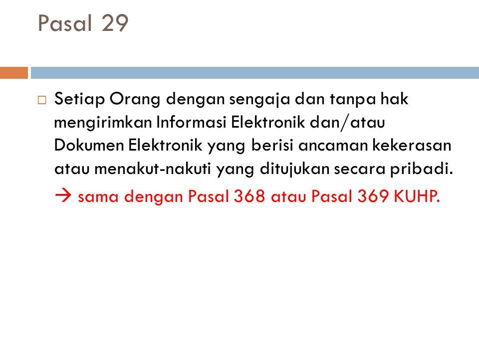 Pasal 29  Setiap Orang dengan sengaja dan tanpa hak mengirimkan Informasi Elektronik dan/atau Dokumen Elektronik yang berisi ancaman kekerasan atau menakut-nakuti yang ditujukan secara pribadi.