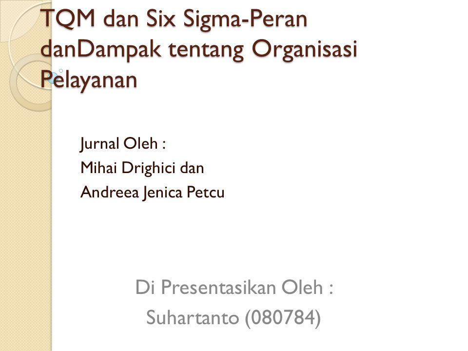 TQM dan Six Sigma-Peran danDampak tentang Organisasi Pelayanan Jurnal Oleh : Mihai Drighici dan Andreea Jenica Petcu Di Presentasikan Oleh : Suhartanto (080784)
