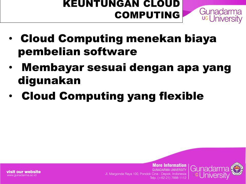 KEUNTUNGAN CLOUD COMPUTING Cloud Computing menekan biaya pembelian software Membayar sesuai dengan apa yang digunakan Cloud Computing yang flexible