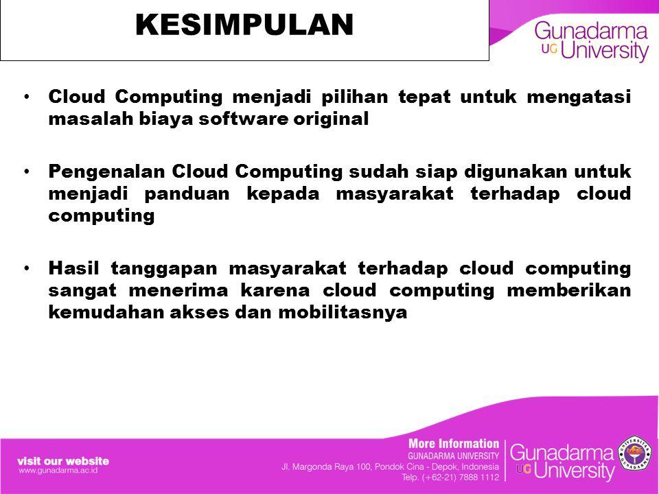 KESIMPULAN Cloud Computing menjadi pilihan tepat untuk mengatasi masalah biaya software original Pengenalan Cloud Computing sudah siap digunakan untuk menjadi panduan kepada masyarakat terhadap cloud computing Hasil tanggapan masyarakat terhadap cloud computing sangat menerima karena cloud computing memberikan kemudahan akses dan mobilitasnya