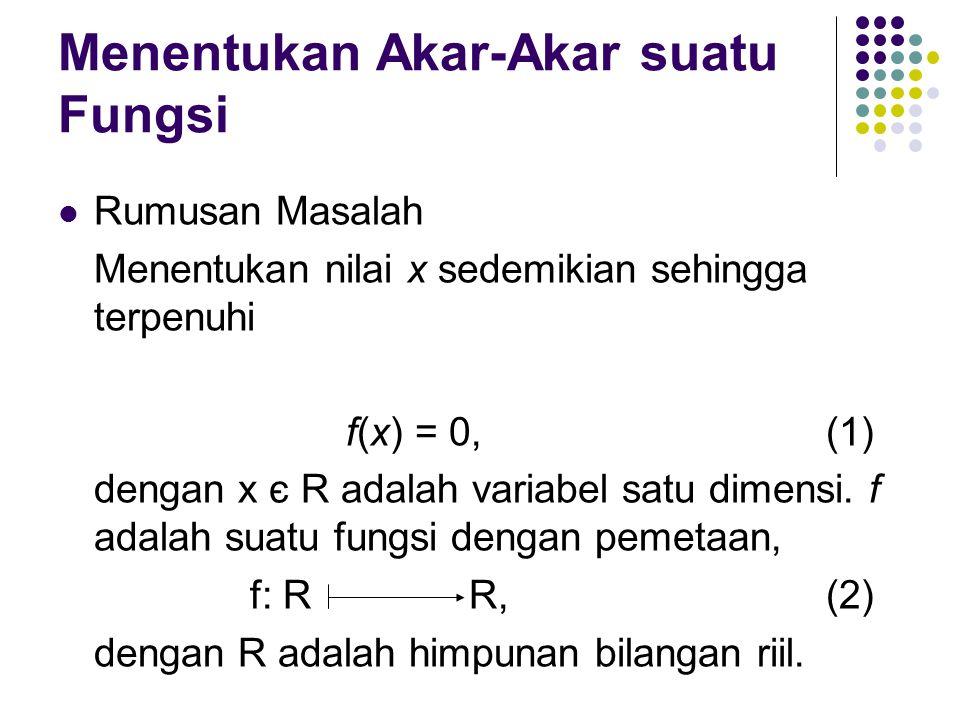 Menentukan Akar-Akar suatu Fungsi Rumusan Masalah Menentukan nilai x sedemikian sehingga terpenuhi f(x) = 0,(1) dengan x є R adalah variabel satu dimensi.