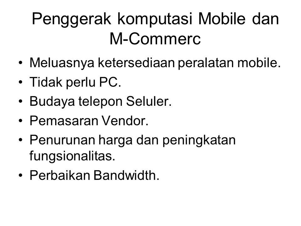 Penggerak komputasi Mobile dan M-Commerc Meluasnya ketersediaan peralatan mobile.