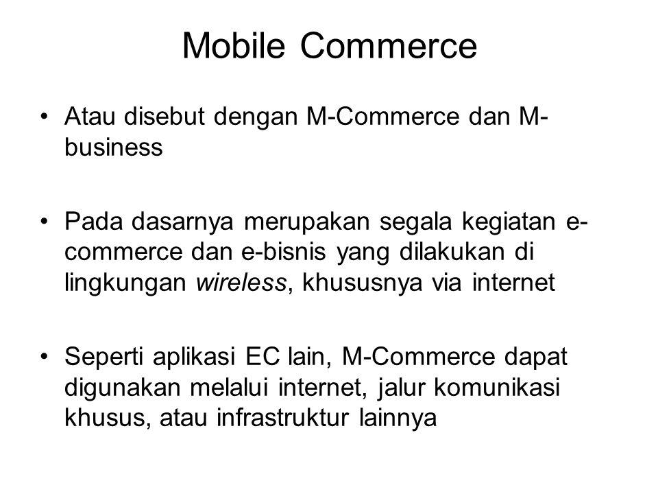 Mobile Commerce Atau disebut dengan M-Commerce dan M- business Pada dasarnya merupakan segala kegiatan e- commerce dan e-bisnis yang dilakukan di lingkungan wireless, khususnya via internet Seperti aplikasi EC lain, M-Commerce dapat digunakan melalui internet, jalur komunikasi khusus, atau infrastruktur lainnya