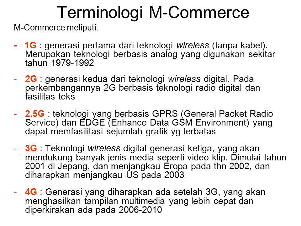 Terminologi M-Commerce -Global Positioning System (GPS) : adalah sistem pelacak berbasis satelit yang memungkinkan penentuan/pencarian lokasi dari alat GPS -Personal Digital Assistant (PDA) : Komputer portable kecil.