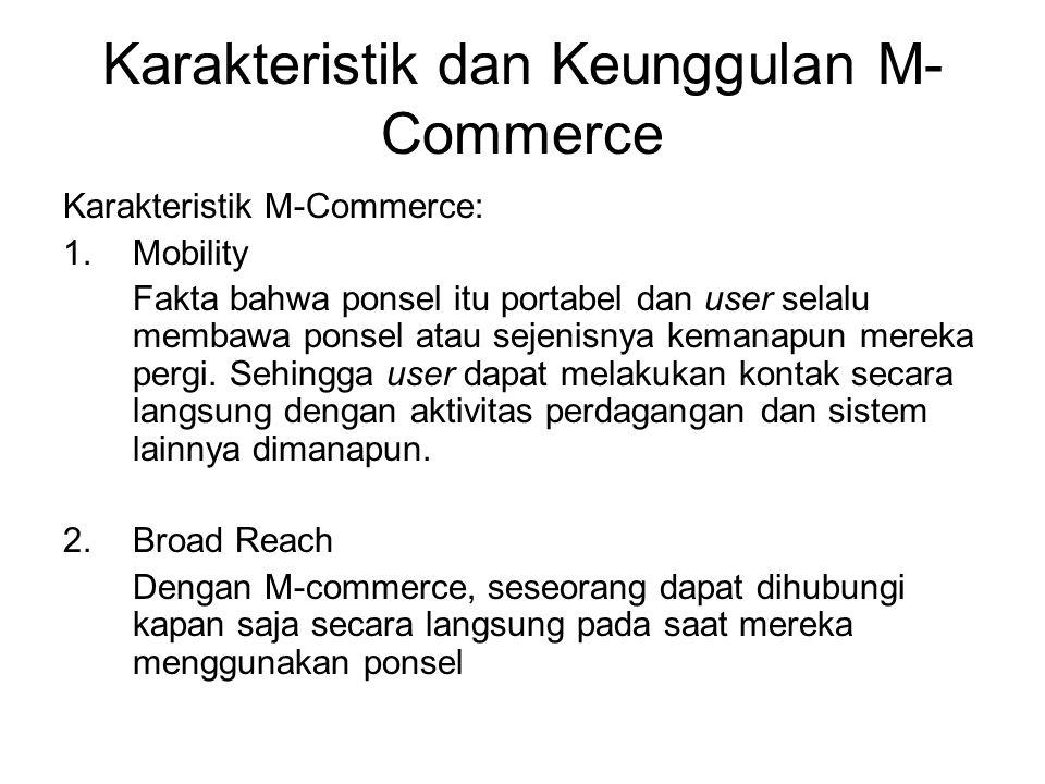 Atribut Khusus dari komputasi Mobile dan M-commerce (2) Ubikuitas : Terminal mobile dapat memenuhi kebutuhan informasi dan komunikasi secara langsung, tidak bergantung pada lokasi pengguna.