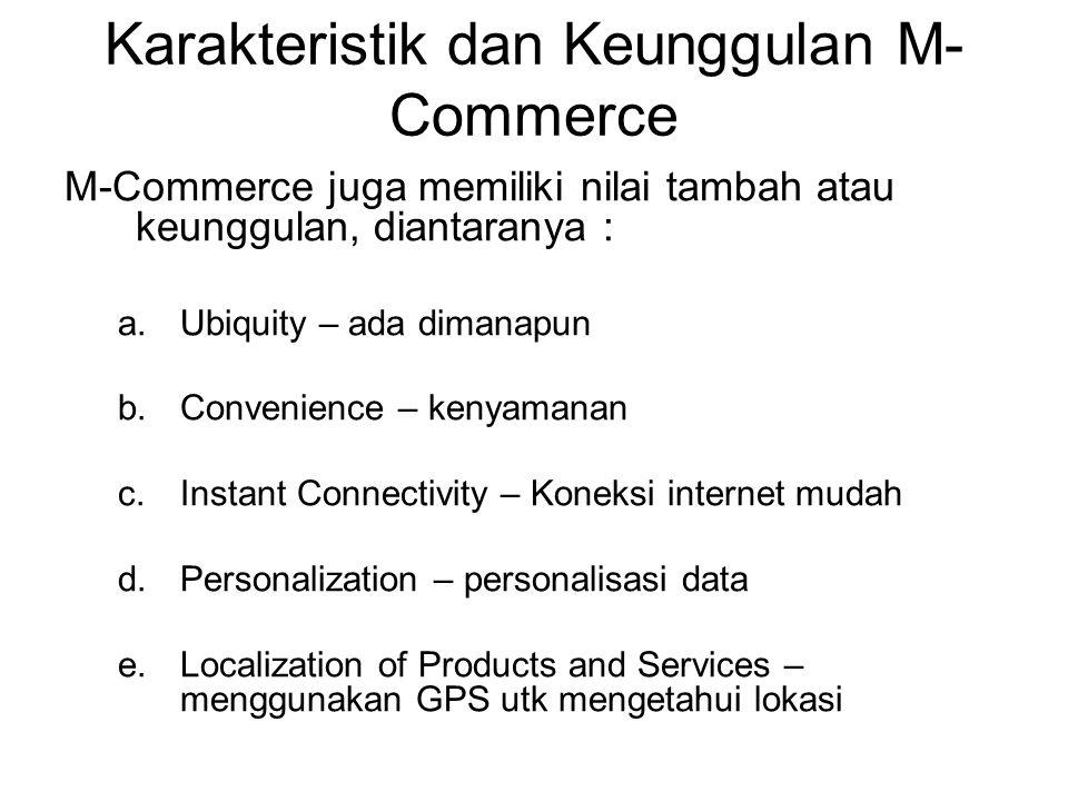 Karakteristik dan Keunggulan M- Commerce M-Commerce juga memiliki nilai tambah atau keunggulan, diantaranya : a.Ubiquity – ada dimanapun b.Convenience – kenyamanan c.Instant Connectivity – Koneksi internet mudah d.Personalization – personalisasi data e.Localization of Products and Services – menggunakan GPS utk mengetahui lokasi
