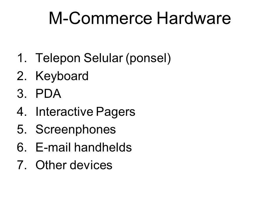M-Commerce Software a.Microbrowser  SW untuk mengakses situs via internet wireless b.Mobile-client OS  Sistem Operasiyang ada pada ponsel (Windows, PalmOS, Pocket PC, EPOC, dll) c.Bluetooth  Wireless Personal Area Network (WPAN) yang memungkinkan komunikasi antara banyak peralatan wireless.