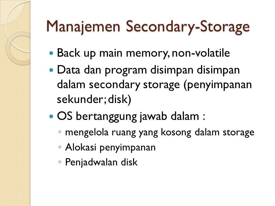 Manajemen Secondary-Storage Back up main memory, non-volatile Data dan program disimpan disimpan dalam secondary storage (penyimpanan sekunder; disk)