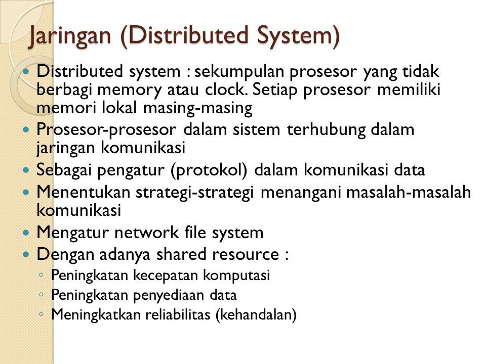 Command Interpreter Memungkinkan sistem berkomunikasi dengan user melalui perintah-perintah menjalankan proses yang telah didefinisikan beserta parameternya kemudian melakukan respon OS menunggu perintah/instruksi dari user (command driven) Contoh-contoh command interpreter : ◦ command-line interpreter (CLI) ◦ Shell Command-Interpreter System sangat bervariasi dari satu sistem operasi ke sistem operasi yang lain dan disesuaikan dengan tujuan dan teknologi I/O peranti yang ada.