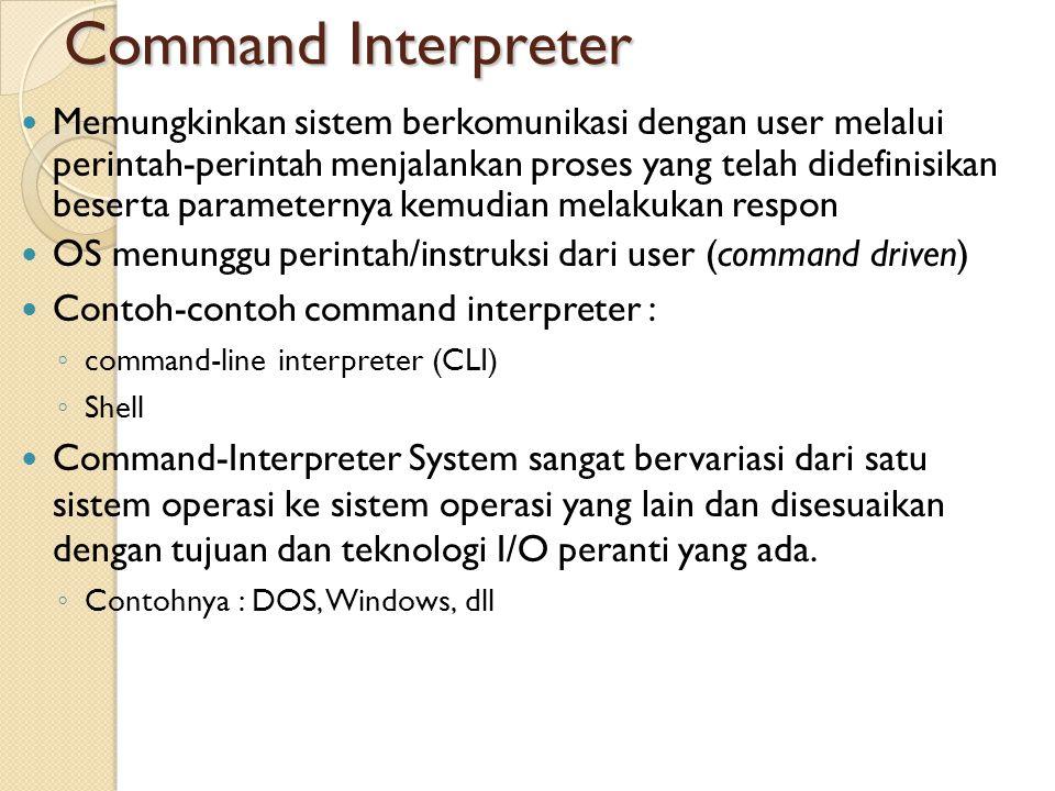 Command Interpreter Memungkinkan sistem berkomunikasi dengan user melalui perintah-perintah menjalankan proses yang telah didefinisikan beserta parame