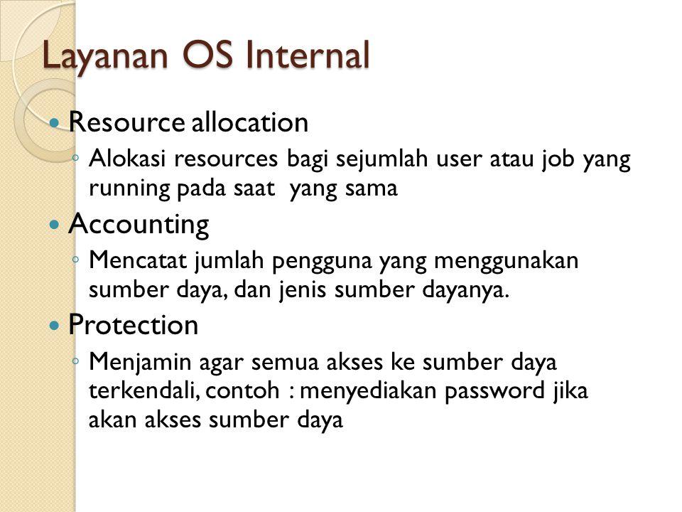 Layanan OS Internal Resource allocation ◦ Alokasi resources bagi sejumlah user atau job yang running pada saat yang sama Accounting ◦ Mencatat jumlah