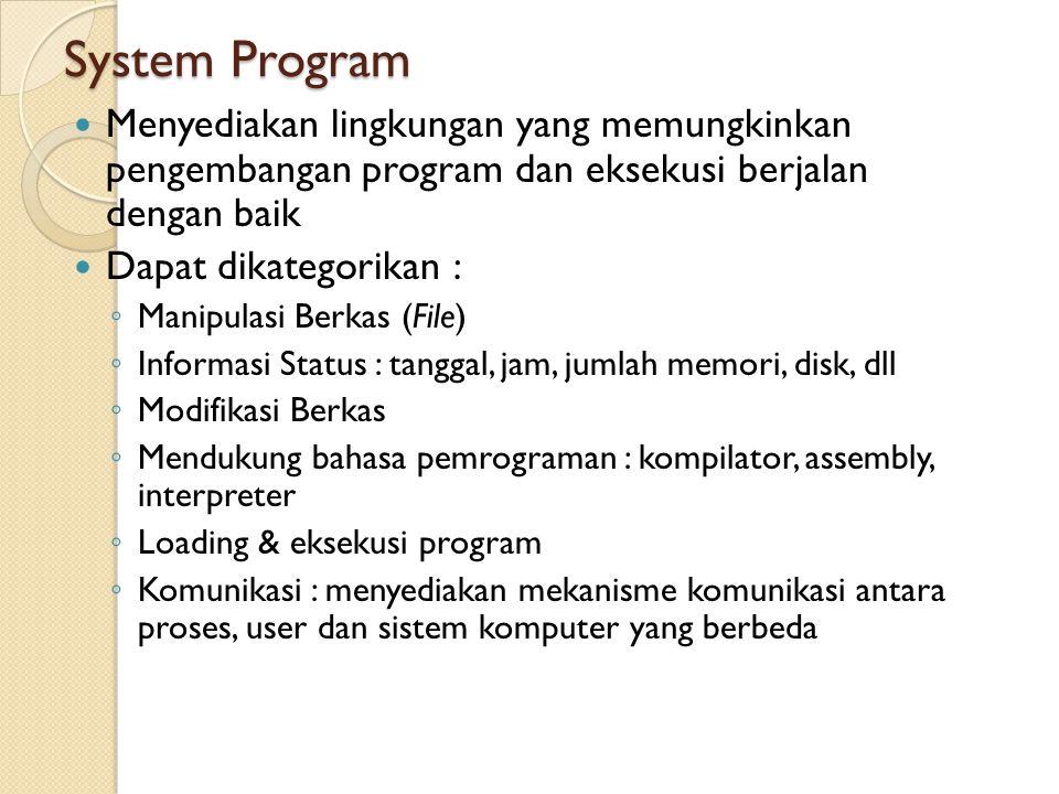 System Program Menyediakan lingkungan yang memungkinkan pengembangan program dan eksekusi berjalan dengan baik Dapat dikategorikan : ◦ Manipulasi Berkas (File) ◦ Informasi Status : tanggal, jam, jumlah memori, disk, dll ◦ Modifikasi Berkas ◦ Mendukung bahasa pemrograman : kompilator, assembly, interpreter ◦ Loading & eksekusi program ◦ Komunikasi : menyediakan mekanisme komunikasi antara proses, user dan sistem komputer yang berbeda