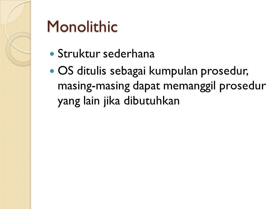 Monolithic Struktur Monolithic : ◦ Main program / procedure yang memanggil service procedure ◦ Sekumpulan service procedure yang menangani system call ◦ Utility procedure yang mendukung service procedure