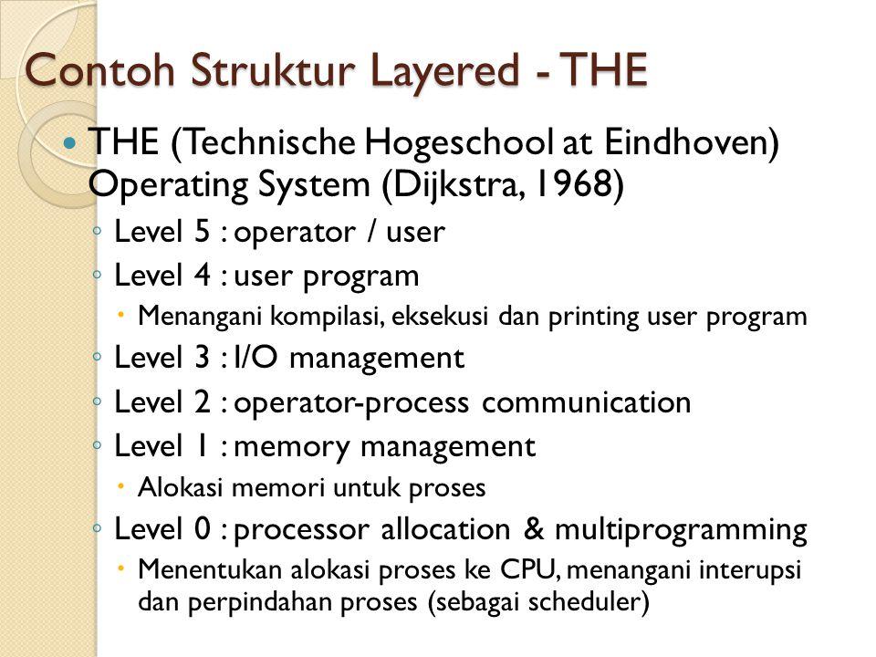 Contoh Struktur Layered - THE THE (Technische Hogeschool at Eindhoven) Operating System (Dijkstra, 1968) ◦ Level 5 : operator / user ◦ Level 4 : user program  Menangani kompilasi, eksekusi dan printing user program ◦ Level 3 : I/O management ◦ Level 2 : operator-process communication ◦ Level 1 : memory management  Alokasi memori untuk proses ◦ Level 0 : processor allocation & multiprogramming  Menentukan alokasi proses ke CPU, menangani interupsi dan perpindahan proses (sebagai scheduler)