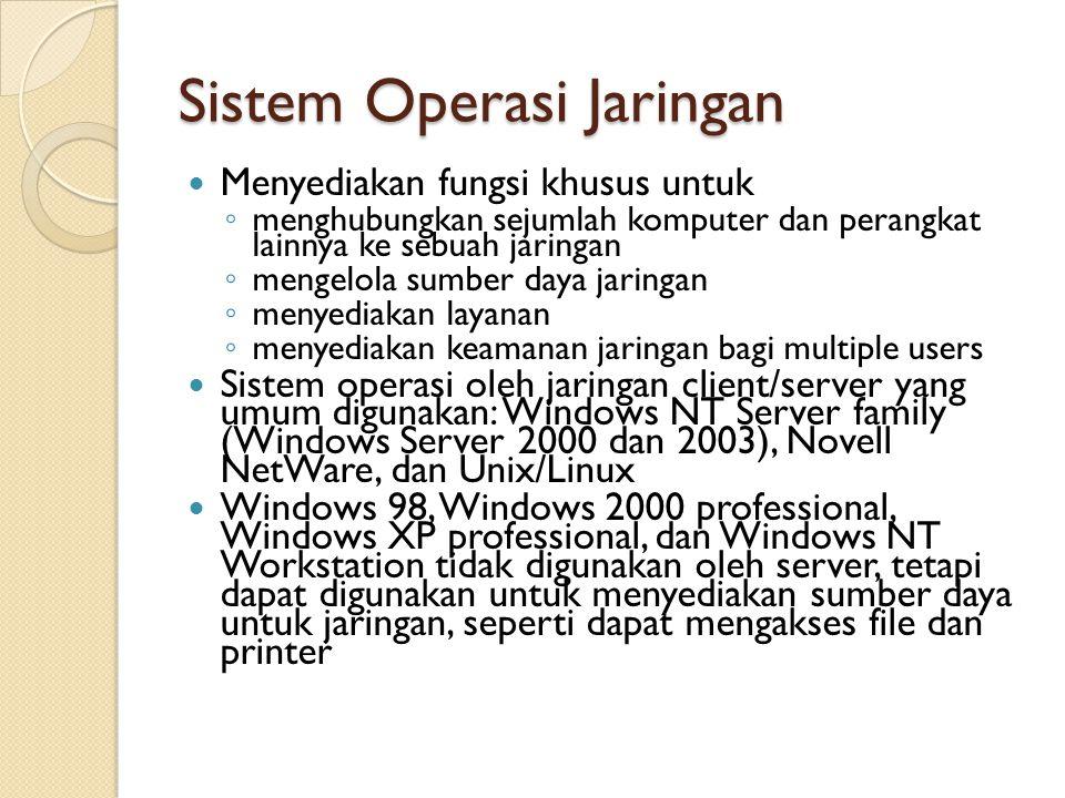 Sistem Operasi Jaringan Menyediakan fungsi khusus untuk ◦ menghubungkan sejumlah komputer dan perangkat lainnya ke sebuah jaringan ◦ mengelola sumber