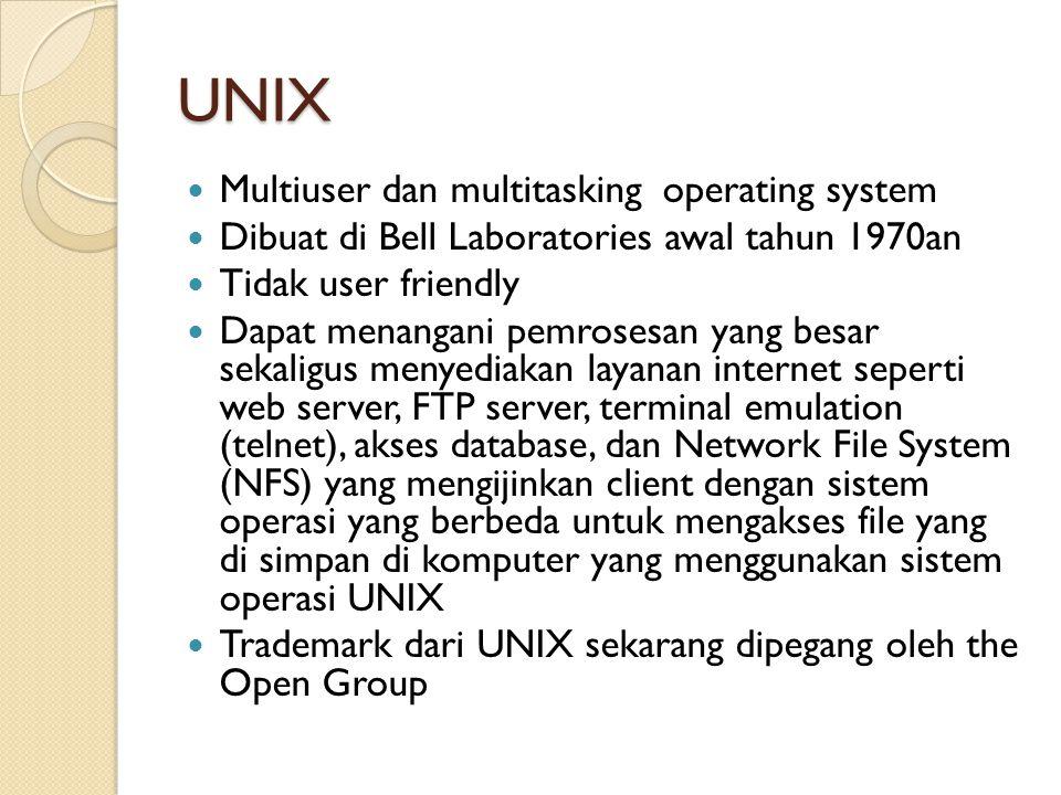 Linux Turunan dari Unix yang merupakan freeware dan powerfull operating system Linux dapat digunakan sebagai sistem operasi server dan client Memiliki implementasi lengkap dari arstitektur TCP/IP dalam bentuk TCP/IP networking software, yang mencakup driver untuk ethernet card dan kemampuan untuk menggunakan Serial Line Internet Protocol (SLIP) dan Point-to-Point Protocol (PPP) yang menyediakan akses ke jaringan melalui modem Sejumlah layanan yang disediakan oleh Linux yang berbasiskan TCP/IP suite: ◦ Web server: Apache ◦ Web proxy: Squid ◦ File dan print sharing: Samba ◦ Email: Sendmail ◦ Domain Name Server: menyediakan mapping antara nama dan IP address dan mendistribusikan informasi tentang jaringan (mail server) contoh BIND