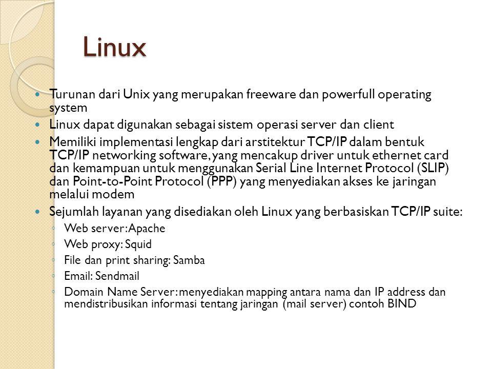 Linux Turunan dari Unix yang merupakan freeware dan powerfull operating system Linux dapat digunakan sebagai sistem operasi server dan client Memiliki