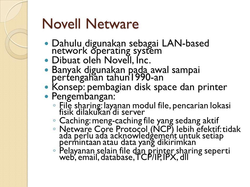 OS/2 32-bit operating system yang dibuat oleh IBM dan Microsoft, tetapi sekarang dikelola hanya oleh IBM Mirip seperti windows tetapi mempunyai feature yang dimiliki oleh Linux dan Xenix Penggunaan akan dihentikan diakhir tahun 2006 ◦ IBM menggunakan Linux dan keluarga Windows