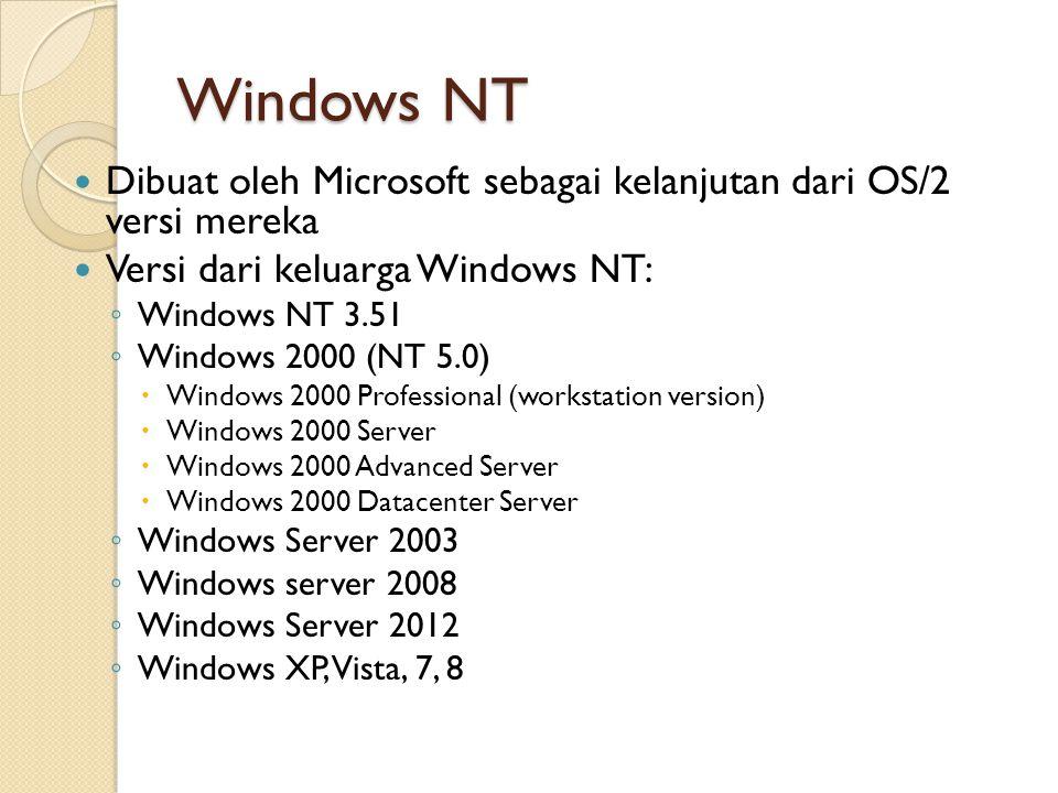 Windows NT Dibuat oleh Microsoft sebagai kelanjutan dari OS/2 versi mereka Versi dari keluarga Windows NT: ◦ Windows NT 3.51 ◦ Windows 2000 (NT 5.0) 