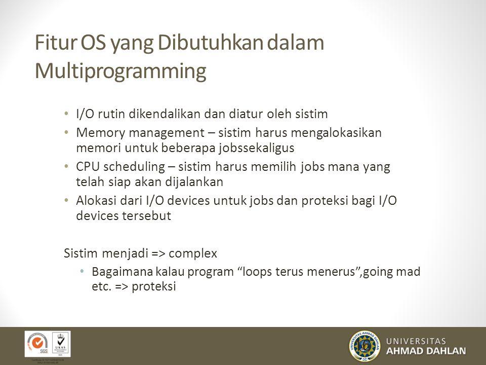 16 Fitur OS yang Dibutuhkan dalam Multiprogramming I/O rutin dikendalikan dan diatur oleh sistim Memory management – sistim harus mengalokasikan memor