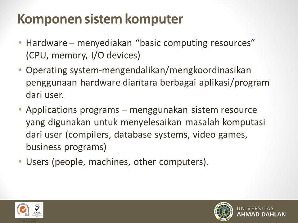 "Komponen sistem komputer Hardware – menyediakan ""basic computing resources"" (CPU, memory, I/O devices) Operating system-mengendalikan/mengkoordinasika"