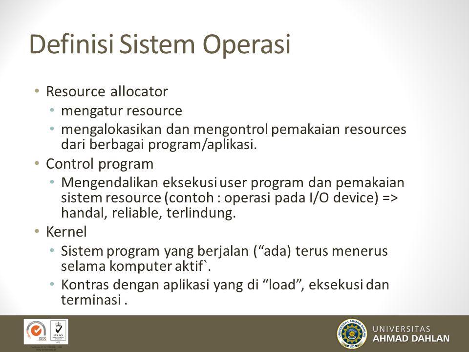 Definisi Sistem Operasi Resource allocator mengatur resource mengalokasikan dan mengontrol pemakaian resources dari berbagai program/aplikasi. Control