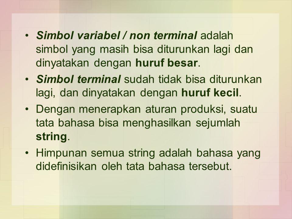 Simbol variabel / non terminal adalah simbol yang masih bisa diturunkan lagi dan dinyatakan dengan huruf besar.